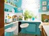 Маленькая кухня модного бирюзового цвета