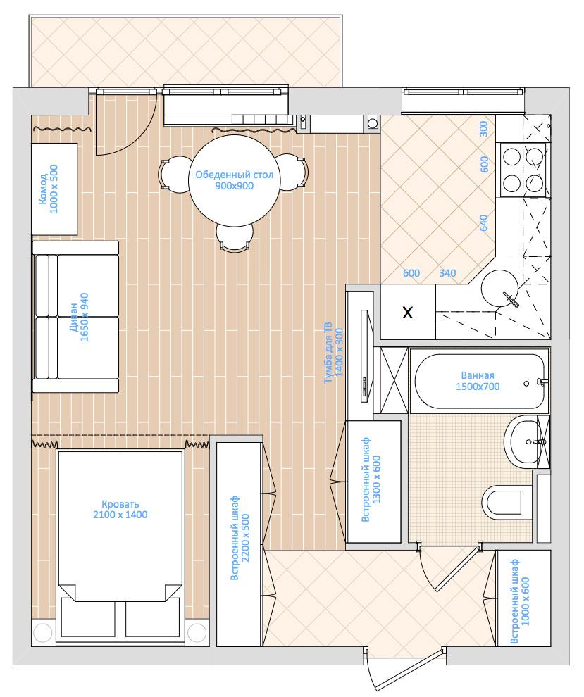 Пример дизайна для однокомнатной хрущевки или 33 квадратных метра